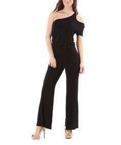 Urban X Black Asymmetrical Cutout Jumpsuit | zulily