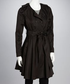 Take a look at this Black Donna Trench Coat by Darling on #zulily today!