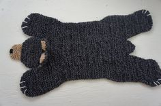 Hand knit 36 inch black/charcoal bear rug/mat/blanket