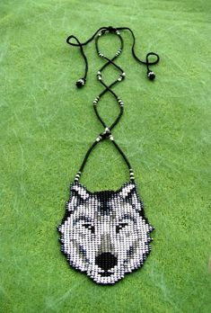 Items similar to Native American Wolf, Seed Beaded Wolf Necklace. on Etsy Native Beading Patterns, Beaded Necklace Patterns, Seed Bead Patterns, Native Beadwork, Native American Beadwork, Loom Patterns, Native American Jewelry, Native American Wolf, Native American Crafts
