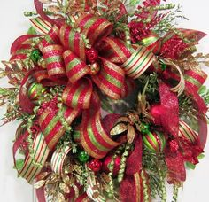 XXL Christmas Wreath With Deco Mesh  and Gold by LadybugWreaths, $299.97