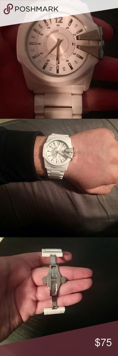 Men's DIESEL watch White ceramic mens diesel watch. Features hidden clasp. In great shape barely worn, it was too small for my husbands wrist. Average retail price of ceramic diesel watches are 250-300 new. Diesel Accessories Watches