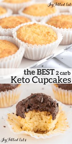 The BEST Keto Cupcakes. These Sour Cream Vanilla Cupcakes are perfect. They are very flavorful & moist and are only 2 net carbs per cupcake! Gluten free, grain free, sugar-free, low carb, and a THM S. Cupcakes Keto, Keto Cake, Sugar Free Cupcakes, Low Carb Sweets, Low Carb Desserts, Low Carb Recipes, Diet Recipes, Diabetic Desserts, Frozen Desserts