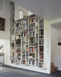 living with books - build column of floor to ceiling shelving like this in the great room