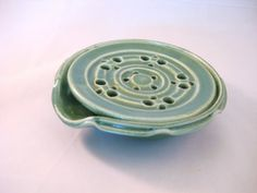 Soap Dish Drain Tray One Piece Drainer Kitchen Or Bath Handmade Pottery Speckled Cream Pottersong