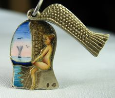 French Risqué Enameled Beauty Antique Silver Charm ~ From the estate of Joan Munkacsi