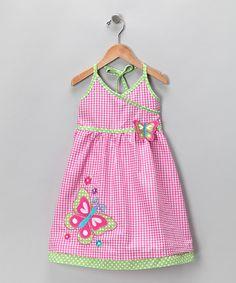 Pink Butterfly Seersucker Halter Dress - Infant, Toddler & Girls