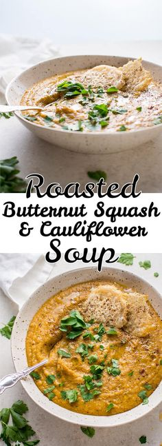 This vegan roasted butternut squash and cauliflower soup with coconut milk is rich, silky, cozy, healthy, and full of flavor.