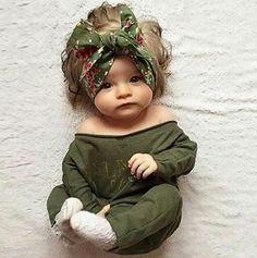 Baby Girl Green Shoulder Romper #kidsclothing #kidsfashion #fallclothing #summerclothing #newborn #baby