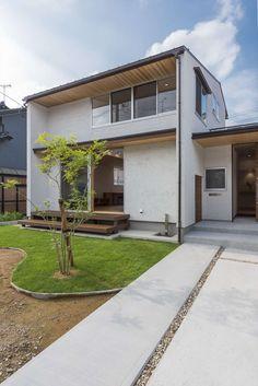 外観 @ 住まい工房 建築実例 Japan House Design, Small House Design, Japanese Modern House, Zen House, Concrete Houses, Minimal Home, Box Houses, Dream House Plans, Facade Architecture