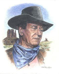 John Wayne art. Watercolor pencil 8x10