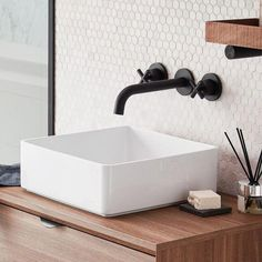 Noir square white wash bowl | bathstore #beachBathroom