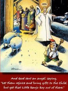 """""""The Far Side"""" by Gary Larson. Farm Cartoon, Cartoon Jokes, Funny Cartoons, Far Side Cartoons, Far Side Comics, Christmas Cartoons, Christmas Humor, Christmas Cards, Banjo Boy"""