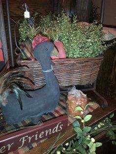 Primitive Rooster, Spring Foliage, Country Home Decor