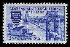 This stamp, commemorating the 100th anniversary of the American Society of Civil Engineers, was issued in Chicago on September 6, 1952, during the convocation of the Centennial of Engineering at the Conrad Hilton Hotel.