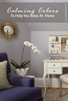 7 calming color palettes for cultivating your safe haven. Curated by top interior designers. CLICK TO READ MORE! #color #colorpalette #soothingcolors #paintcolors #calmcolors #colorpsychology #purple #lightblue #sagegreen #teal #blushpink #deepgray #lightyellow Soothing Colors, Safe Haven, Color Psychology, Top Interior Designers, Teal, Purple, Color Palettes, Home Office, Paint Colors