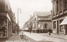On the left is Montague street looking west. The picture is undated. The right-hand side clearly shows the front of the Albion and the Chapel across the road from it where Boots the Chemist stands today. Sadly there are no remnants of the original building left.  Field Row, a wide alleyway (or Twitten) still runs behind where is stood. The map of 1875 shows that there was a covered entrance to the back of the Hotel which lead to what was possibly a stabling area.