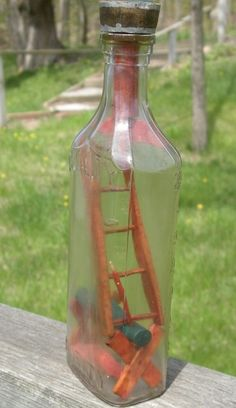 Handmade Unique Bottle With A Ladder Inside The Bottle from defdif on Etsy