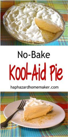 Kool-Aid Pie Cool and creamy, No-Bake Kool-Aid Pie! Super easy to make! Only 4 ingredients plus the graham cracker crust.Cool and creamy, No-Bake Kool-Aid Pie! Super easy to make! Only 4 ingredients plus the graham cracker crust. Cold Desserts, Easy No Bake Desserts, Delicious Desserts, Easy Pie Recipes, No Bake Snacks, Tart Recipes, Sweets Recipes, Brownie Recipes, Vegan Desserts