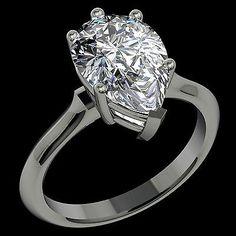 #jewelry 2.65 Carat H VS2 Certified Pear Shape Diamond set in 14K WG 6 PR Ring WOW!! please retweet