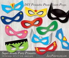 DIY Superhero party printable masks, comic book style photo booth props in red, . Photobooth Props Printable, Printable Masks, Printables, Printable Halloween Masks, Photos Booth, Photo Booth Props, Superhero Photo Booth, Superhero Backdrop, Anniversaire Wonder Woman