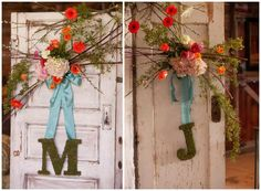 These large moss letters are the perfect compliment to these beautiful vintage doors.  vintage wedding.  rustic wedding. wedding decor.  wedding ideas.  vintage doors.  doors and weddings.