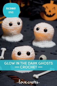 Crochet these adorable little ghouls to decorate your home for Halloween this year! A super quick project you can make at the last minute. | Downloadable PDF at LoveCrafts.com Crochet Yarn, Crochet Hooks, Free Crochet, Universal Yarn, Cross Stitch Supplies, Christmas Knitting Patterns, Super Saver, Plymouth Yarn, Cascade Yarn
