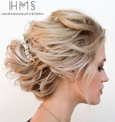 Disheveled Blonde Updo For Medium Hair