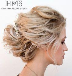 Disheveled Blonde Updo For Medium Hair