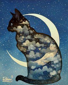 #Arte ☆ #Ilustração * Cat nas Nuvens e Lua ☆