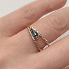 Vertex Ring with a kite-cut tourmaline pavé with white diamonds... #jewels