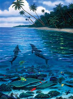 Nature's Paradise by Wyland - Dolphins in the Ocean