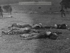Bloated Corpses of Federal Troops killed on the first day of battle at Gettysburg. Gathered for burial after the battle.
