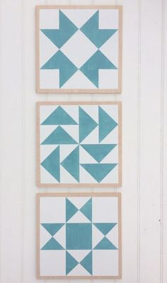 Image of SET OF 3 - Wood Barn Quilts - 11 x 11 inch Hand-Painted Wooden Quilt Block Signs