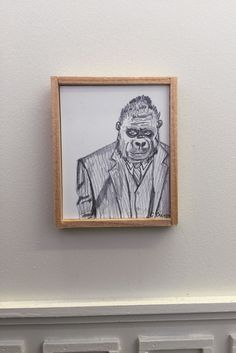 "A tiny show of miniature artworks in L.A. ||   ""Portrait of My Father,"" 2015, by Clare Crespo. ""I chose to do a piece that reflected my favorite memory of my dad. When I was smal..he dressed in a three-piece suit & an original mask from the movie 'The Planet of the Apes,' which my uncle had done makeup on. It was Halloween & he sat in this crazy costume at the end of my grandmother's driveway to hand out candy. Every kid on the block was too scared come near him and I had never been…"