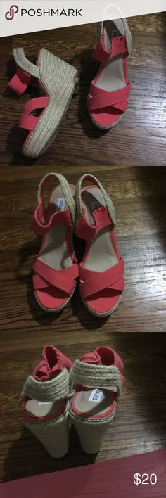 Steve Madden wedge sandals Coral tall wedge espadrilles. Worn only once but were a little too tall for my liking.  Size 8.5 Steve Madden Shoes Espadrilles