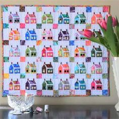 "~free pattern~ Miniature House Quilt Pattern full view, Kaffe fabrics.  ""Give it a try from your own favorite scraps""."