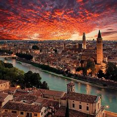 Wonderful Sunset in Verona, Italy ~ Photograph By @matteorighiphotography . #verona #italy