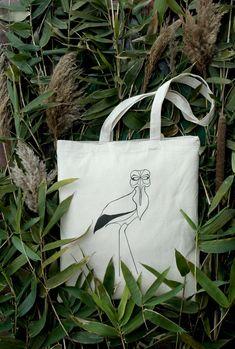 Stork with mask canvas tote bag - forest bird - animal bag - woodland tote bag