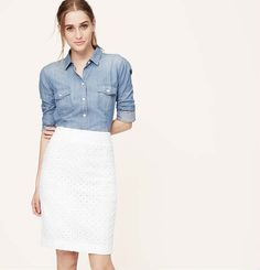 Cotton Eyelet Pencil Skirt from Loft on Catalog Spree