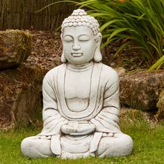 Hindu Stone Buddha Statue Large Garden Ornament. Buy now at http://www.statuesandsculptures.co.uk/large-garden-ornaments-hindu-stone-buddha-statue