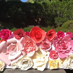 Paper Flowers Flower Wall Backdrop by FloresDePapelByAngie on Etsy