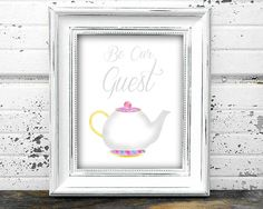 Be Our Guest Beauty and the Beast Printable Wall Art - Download file decor wedding house home kitchen disney mrs potts purple pink minimal