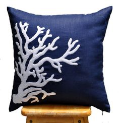 Coral Throw Pillow Cover, Decorative Pillow Cover, Nautical Pillow, White Coral, Navy Blue Linen Pillow, Beach Decor, Accent Pillow