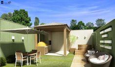 Maquete eletrônica Belo Horizonte Minas Gerais / arquitetura Bh / 3D: Quintal com ofurô e espaço churrasqueira