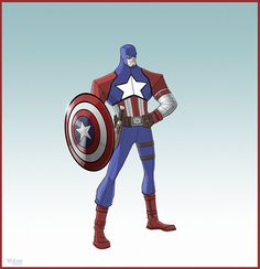 Captain America Redesign | Stretching beyond previous versions, but keeping the traditional black ...
