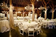 Rustic Wedding Reception. I love the lighted garland on the beams