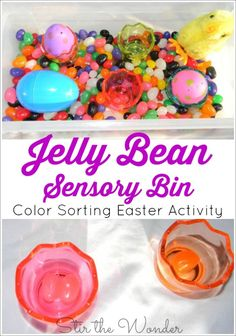 Jelly Bean Sensory Bin a fun way for toddlers and preschoolers to practice coloring recognition and sorting! Easter Activities For Kids, Spring Activities, Toddler Preschool, Toddler Activities, Easter Games, Toddler Crafts, Sensory Bins, Sensory Activities, Sensory Play