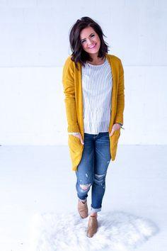 Anita Cardigan- Mustard, yellow, long, pockets