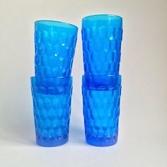 Vintage Fenton Colonial Blue Thumbprint Glassware • (4) Retro Drinkware Barware by wolfeDENcollective on Etsy https://www.etsy.com/listing/518338147/vintage-fenton-colonial-blue-thumbprint